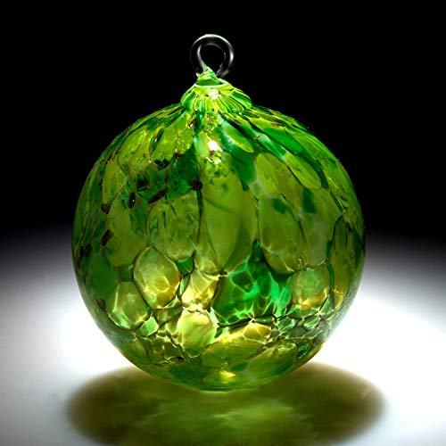 - Ornament. Sun catcher. Hand blown Fine Art Glass Ornament in Green. Made in Seattle. Artist Dehanna Jones.