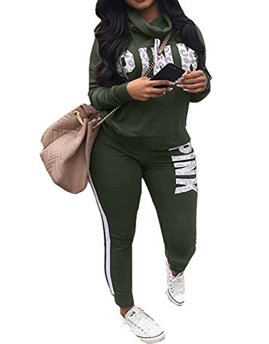 Women's Letter Print Cowl Neck Hoodies Top Stripe Pant Jogging Suits Army Green (Comfortable Letters)