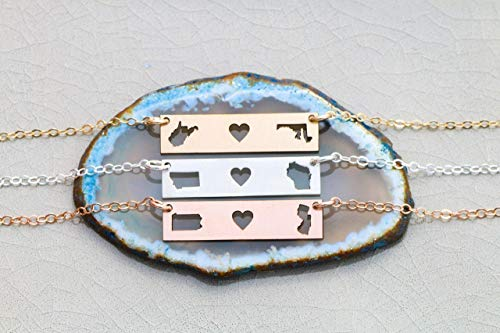 Best Friend State BAR Necklace - IBD - Graduation Gift Choose Two Locations States or Countries - 935 Sterling Silver 14K Rose Gold Filled Custom Pendant - 1 x .25 Inch - Horizontal Layering Charm