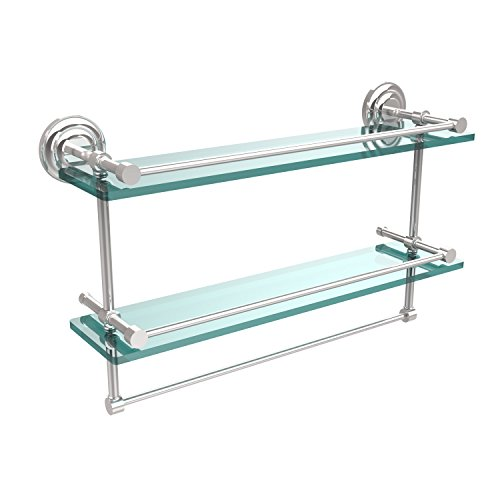 Allied Brass QN-2TB/22-GAL-PC 22 Inch Gallery Double Glass Shelf with Towel Bar Polished Chrome