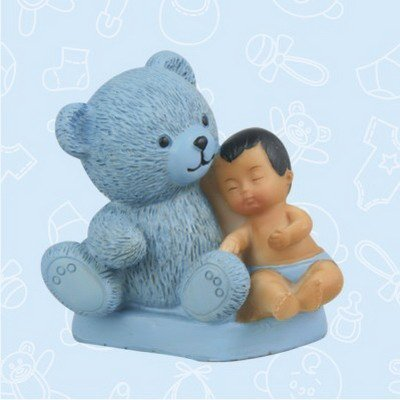 48 Ethnic African American Boy and Teddy Baby Shower Favor Blue in Box Favors Gift Keepsake Favor