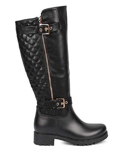 Nature Breeze Storm-01 Womens Round Toe Buckled Straps Quilted Back Side Zip Mix Media Motorcycle Knee high Riding Boots