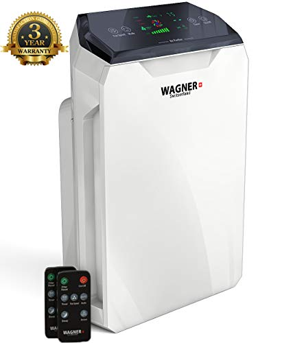 WAGNER Switzerland Air Purifier WA-777 for Rooms up to 500 sq.ft. Removes Mold, Odors, Dust, Smoke, Allergens, Germs and Pet Dander. True HEPA Filter 5-Stage Purification. Air Quality Monitor.