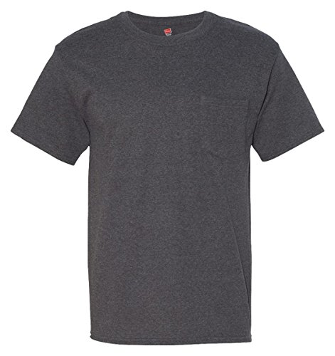 Men's 6.1 oz Hanes BEEFY-T T-Shirt w/Pocket, Charcoal Heather, L US (Chest - Outlets Massachusetts