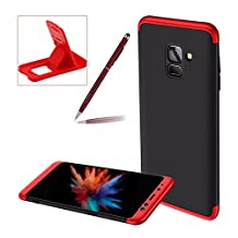 3 in 1 Hard Case for Samsung Galaxy A8 2018,Red Black Heavy Duty PC Back Cover for Samsung Galaxy A8 2018,Herzzer Stylish Ultra Thin Anti-Scratch Armour Defender Shockproof PC Case