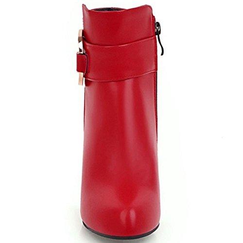 Mujer Lateral Rojo Cremallera Botas RAZAMAZA fqZ5aCx