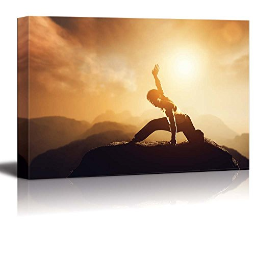 Wall26 - Canvas Prints Wall Art - Fighter Practices Martial Arts in High Mountains at Sunset. Kung Fu and Karate Pose.   Modern Wall Decor/ Home Decoration Stretched Gallery Canvas Wrap Giclee Print. Ready to Hang - 24