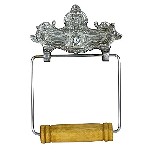 Wall Mount VINTAGE STYLE CHROME Toilet Paper Holder in English Paris French ()