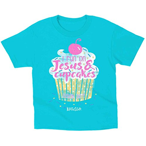 I Run On Jesus and Cupcakes, Kidz Tee, MD, Blue - Christian Fashion Gifts