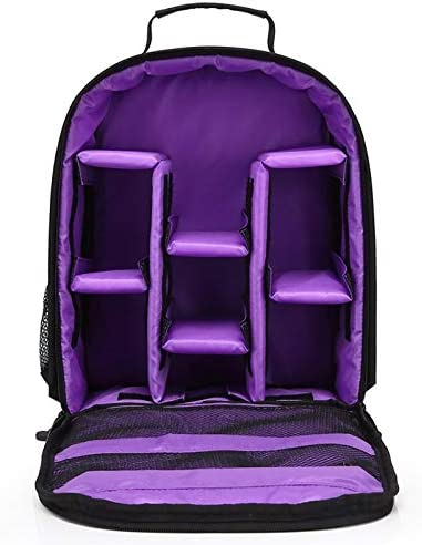Color : Purple XIAOMIN Portable Waterproof Scratch-Proof Polyester Surface Material Dual Shoulders Backpack Outdoor Sports Camera Bag Premium Material