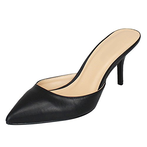 MAIERNISI JESSI Women's Simple Pointed Toe Mid Kitten heel Slide Sandals Shoes Black 39 - US - Heel Sandals Kitten Leather
