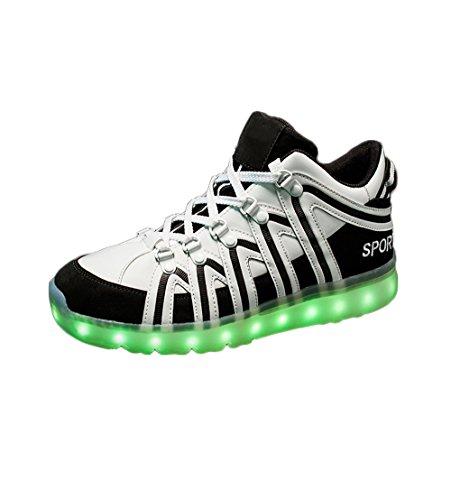 COIN Unisex-Erwachsene Skateboard LED Schuhe, Stylischer Leuchtende Sneaker für Damen u. Herren, USB-Aufladen Blinkende Trainers mit LED-Sohle, 39-45 in 2 Farben Schwarz
