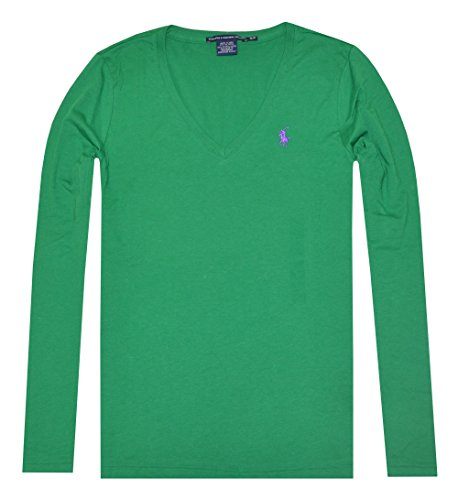 aeb45e70 Ralph Lauren Sport Women Lightweight Pony Logo V-neck Long Sleeve T-shirt  (S, Parrot green) - Buy Online in Oman.   Apparel Products in Oman - See  Prices, ...