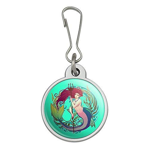 Mermaid Holding Trident Circle Art Nouveau Kelp Jacket Handbag Purse Luggage Backpack Zipper Pull Charm (Back Zip Nouveau)