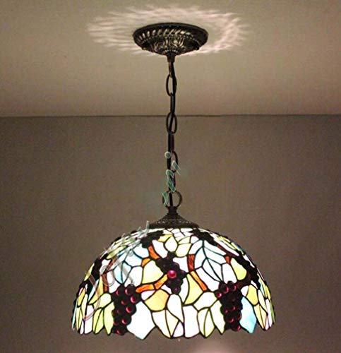 12 Inch Stained Glass Grape Flower Pattern Shade Tiffany Style Pendant Lights for Restaurant Cafe Ceiling Hanging Lamp, 110-240V/E27/E26