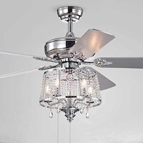 Wolland 52 inch Modern LED Crystal Ceiling Fan Light Fixture