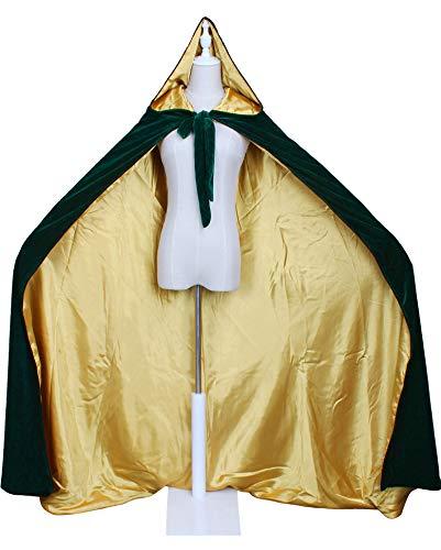 LuckyMjmy Velvet Renaissance Medieval Cloak Cape lined with Satin (Plus.X, Dark Green-Gold)]()