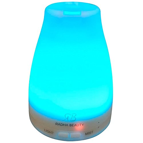 Essential Oil Diffuser 160 ml for longer Mist – Cool Mist Aromatherapy with 7 changing Colored LED Lights, Auto Shut-off, and Adjustable Mist Modes by Radha Beauty 41w84H4gSZL