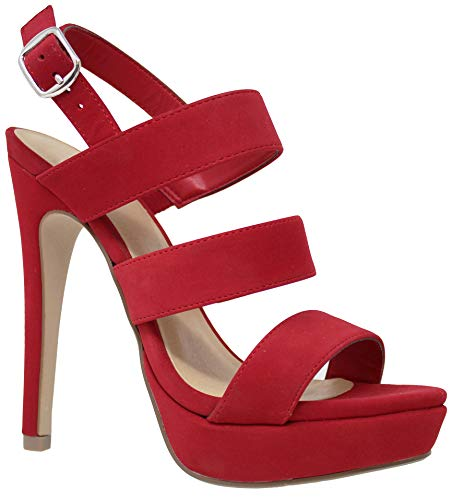 - MVE Shoes Women's Strappy Peep Toe Platform - High Heel Stiletto Pumps - Slingback Cute Sandals, Lips nbpu Size 8
