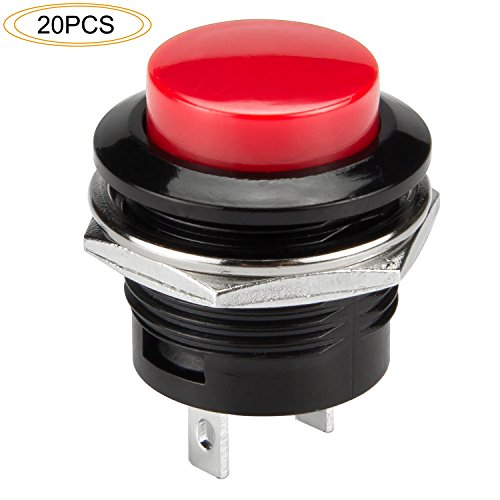 - DIYhz 20Pcs AC250V/3A AC125V/6A OFF(ON) NO Round Momentary Push Button Switch Red Cap
