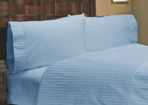 """UPC 888099513225, 400 Thread Count 1 PC Fitted Sheet 100% Egyptian Cotton Stripe Blue Short Queen 18"""" Deep Pocket"""