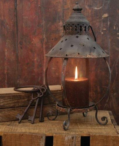 Primitive Decor Rustic Table Lantern-Antique Rust-13 Inches ()