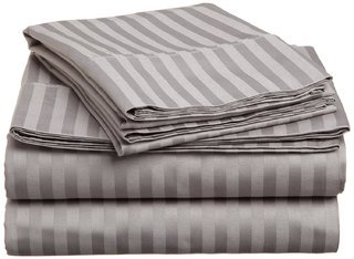 ltra Soft, Double-side Brushed Microfiber 1800 Series 4 Piece Bedding Set Stripe - Fitted, Flat sheet, Pillowcases, Wrinkle, Fade, Stain Resistant Full Sleeper Sofa Grey ()