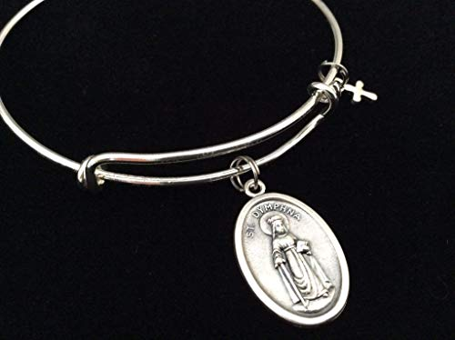 (Saint Dymphna Medal Silver Expandable Charm Bracelet Patron Saint of Stress, Anxiety and Mental Health Adjustable Bangle One Size Fits All Gift Custom and Personalization Options Available)