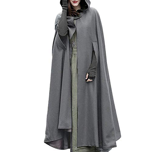 Halloween Cosplay Costumes Party Capes Unisex Christmas Day Hooded Cloak Medieval Cape (Gray B, M) -