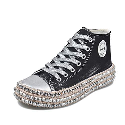 スニーカー ウォーキングシューズ 黒 厚底靴 レディース 23.0cm 厚底スニーカー 厚底シューズ 可愛い 靴 ヒール スムース かわいい 軽量 歩きやすい靴 おしゃれ 疲れない ハイカット プラットホーム 厚底 黒(ハイカット) レースアップ シューズ