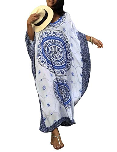 Bikini Cover Ups Kimono Women Long Maxi Swimsuit Turkish Ethnic Print Kaftan Beach Dress Robe (131-1) (Sleeve Kaftan)