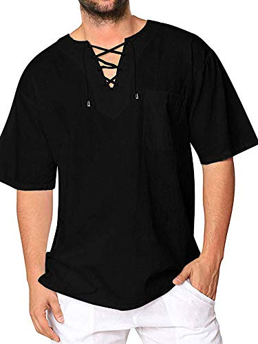 Mens Cotton T Shirt Casual Beach Hippie Yoga Tees Plain Drawstring Lace-up Short Sleeve Tops -