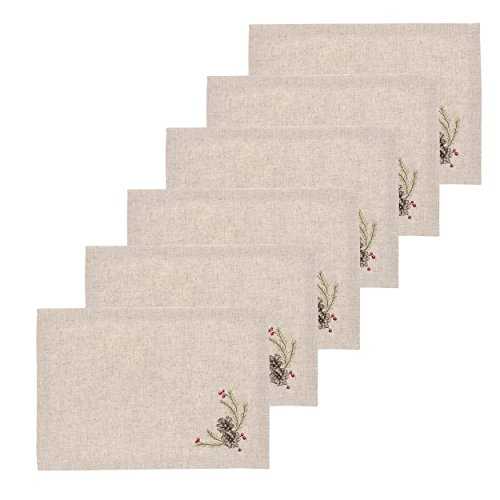 (C&F Home Pinecones Cotton Embroidered Placemat Set of 6 Rectangular Placemat Set of 6)