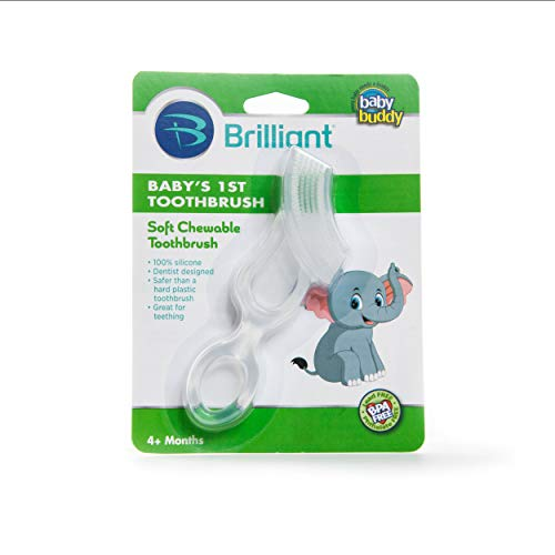 Baby Buddy Baby's 1st Toothbrush Teether—Innovative 6-Stage Oral Care System Grows With Your Child—Stage 4 for Babies/Toddlers—Kids Love Them, Clear