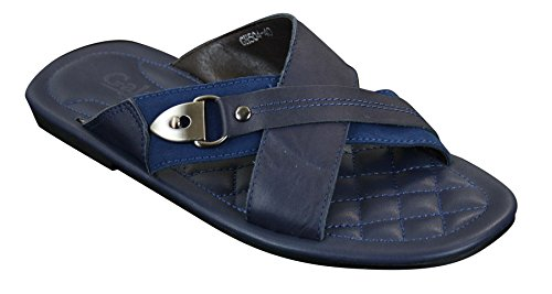 Summer Mules Leather Real Casual Slippers Beach Mens Slip Blue On Sandals Brown Navy PwOZgqg