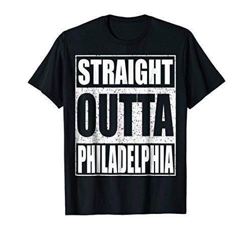 Philadelphia Charm Baseball Phillies (Mens Straight Outta Philadelphia T-Shirt Funny Pennsylvania Gift Large Black)