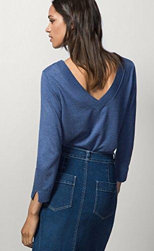 Baymate Mujer Cómodo Suéter Espalda V-cuello Diseño Jersey De Punto De Pullover Azul