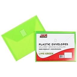 JAM Paper Plastic Envelopes with VELCRO Brand Closure - Index - 5 1/2\