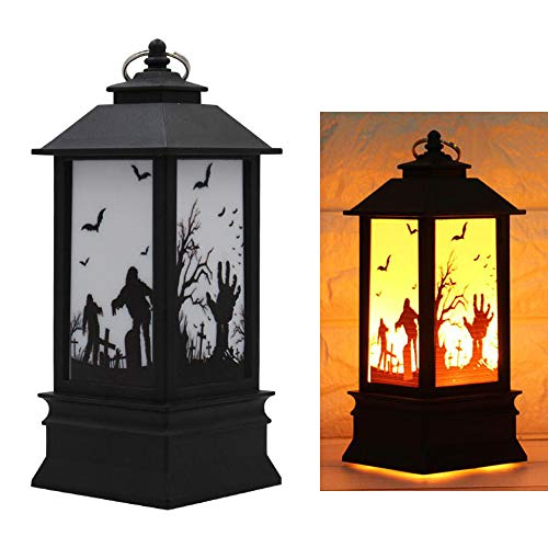 Transer Halloween Night Light, LED Flickering Tealight Candles Tea Light Candle Flame Effect Oil Lamp Party Decoration Ornament Gift (C, Small)