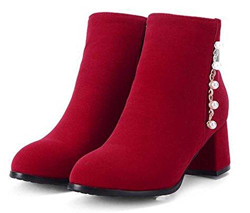 Chfso Womens Trendy Kralen Stevige Ronde Neus Rits Mid Dikke Hak Winter Laarzen Rood