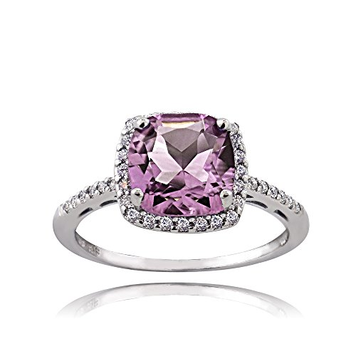 Ice Gems Sterling Silver Purple and Clear Cubic Zirconia Cushion-Cut Halo Ring, Size 8