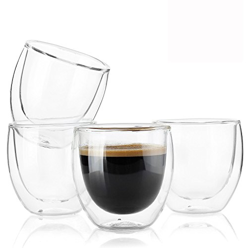 Sweese 4301 Espresso Cups - 4 Ounce (Top to The Rim), Double-Wall Insulated Glasses - Handmade Glass - Set of 4 by Sweese