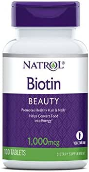 Natrol Biotin Tablets, 1,000mcg, 100 Count (Pack of 2)