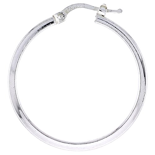 Sterling Silver Italian Hoop Earrings 2mm thin Square Tubing, 1 1/4 inch ()