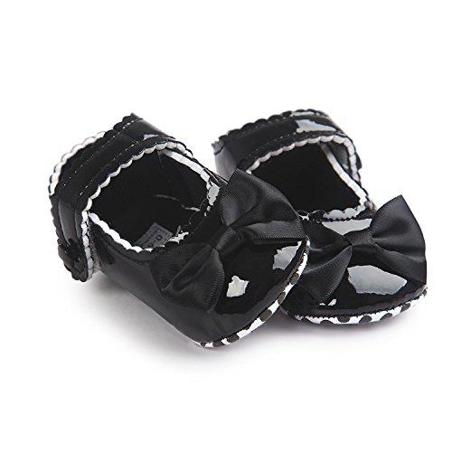 mommyjennie bebé niñas suela suave borla Bowknots sintética zapatos de piel Mocasín rosa rosa Talla:Suitable Age0~6 month negro