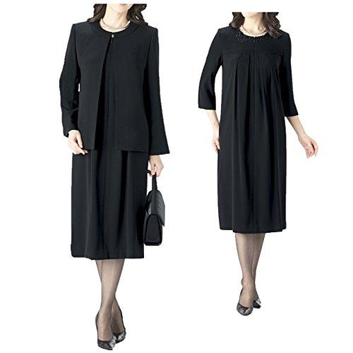 ハワイ商事 日本製 ブラックフォーマル レディース 婦人服 女性 喪服 礼服 アンサンブルワンピース[8998] B07DWW3WLG 9
