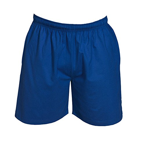 impex12 Men's Sport Shorts With Pockets - 100% Cotton - Adjustable Draw Cord No Mesh Liner - Royal Blue Size: M