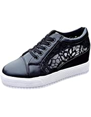 Mujer Moda Zapatos Casuales de Malla,ZARLLE Cordón Hueco Respirable Zapatillas de Deporte Aumentar Dentro,Zapatos cuña Mujer,Calzado de Deportes de Interior de niña