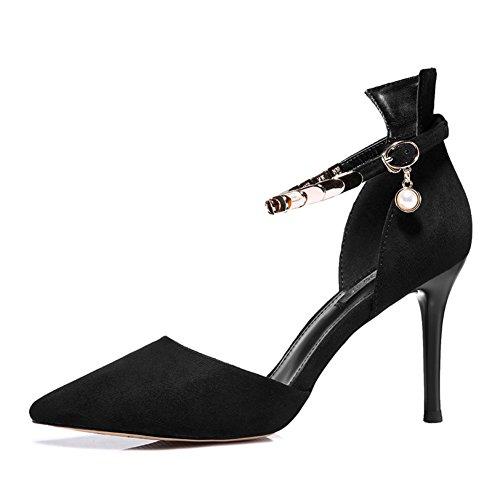 PUMPS MS Spitzen High Heels,Chunky Heels Low-Cut Dünne Schuhe,One-Wort Schnalle Rote Hochzeit Schuhe-A Fußlänge=23.8CM(9.4Inch)