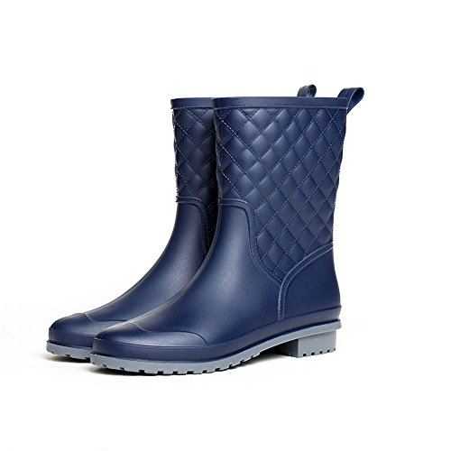 Rainy Show Women's Mid Calf Rain Boots Black Block Heel Outdoor Work Waterproof Garden Booties Wide Calf Rain Shoes
